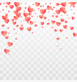 falling red hearts pattern romance decoration vector image