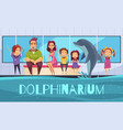 family with dolphins background vector image