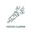 festive clapper line icon linear concept vector image vector image