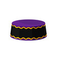 flat icon of purple-black kufi hat vector image vector image