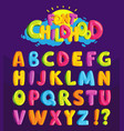 Font in cartoon style childhood