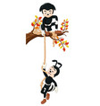 funny two black ants climbing a tree with rope vector image vector image