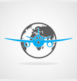 globe and airplane icon vector image vector image