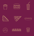 gold outline various fast food icons collection vector image vector image