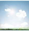 grass sky and clouds vector image vector image
