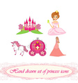 Hand drawn set of princess icons vector image vector image