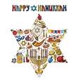 Hanukkah greeting cardIsrael symbols in David vector image