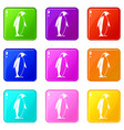 king penguin icons 9 set vector image vector image