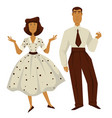 man and woman in vintage 1950s style clothes vector image vector image