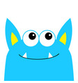 monster scary face head icon eyes ears fang tooth vector image