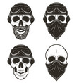 motorcycle skull set hand drawn vector image vector image