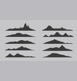 mountain silhouette black outline rocks and hills vector image vector image