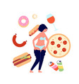 overeating fast food addiction nutrition vector image vector image