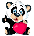 panda cartoon holding love heart vector image vector image