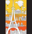 paris skyline line art 1 vector image vector image