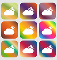 Partly Cloudy icon Nine buttons with bright vector image vector image