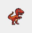 pixel art 8 bit cartoon t rex tyrannosaurus vector image vector image