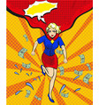 pop art of woman in red cape vector image vector image