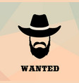 poster wanted with bandit portrait people icon vector image