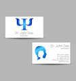 psychology visit card modern logo vector image