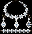 set female pearl necklace bracelet and earrings vector image vector image