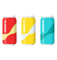set of drinks in aluminum cans vector image vector image