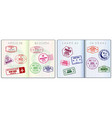 set realistic blank passport pages or empty vector image vector image