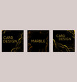 set square marble cards with golden cracks on a vector image