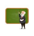 teacher at blackboard isolated cartoon vector image