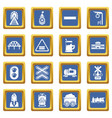 train railroad icons set blue square vector image vector image