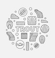 trout round minimal red fish vector image