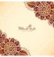 Vintage flowers ethnic background in Indian mehndi vector image vector image