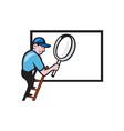Worker Ladder Magnifying Glass Billboard Cartoon vector image