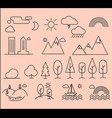 set of linear icons of city landscape elements vector image
