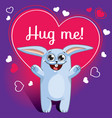 cartoon rabbit ready for a hugging vector image