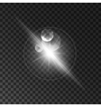Glowing white light flash Sparkling sun beam vector image