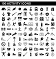 100 activity icons set simple style vector image vector image