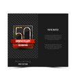 50th anniversary invitation card template vector image