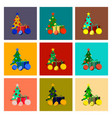 assembly flat christmas tree orange gift vector image vector image