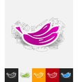 banana paper sticker with hand drawn elements vector image