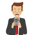 businessman received bad news on mobile smartphone vector image vector image