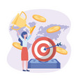 businesswoman and target with arrow and bills and vector image vector image
