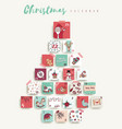 christmas advent calendar cute cartoon holiday art vector image vector image