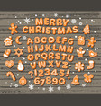 christmas and new year gingerbread alphabet cute vector image vector image