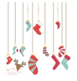 Christmas socks hanging on a magic thread new vector image
