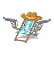cowboy beach chair character cartoon vector image