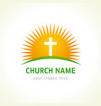 cross on bible church logo vector image