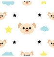 dog head hands cloud star shape cute cartoon vector image