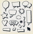 doodle speech bubbles and elements set vector image vector image