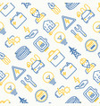 electricity seamless pattern with thin line icons vector image vector image